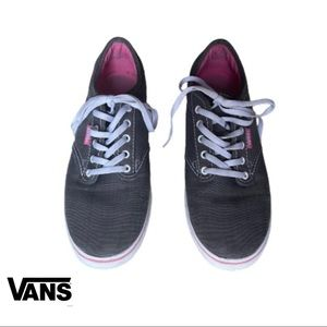 Women's grey and pink vans off the wall shoes